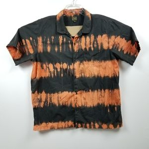 Obey Mens Button Down Shirt XXL 2XL Black Orange